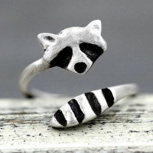 Jewelry - Raccoon silver 925 adjustable ring fits most cute!
